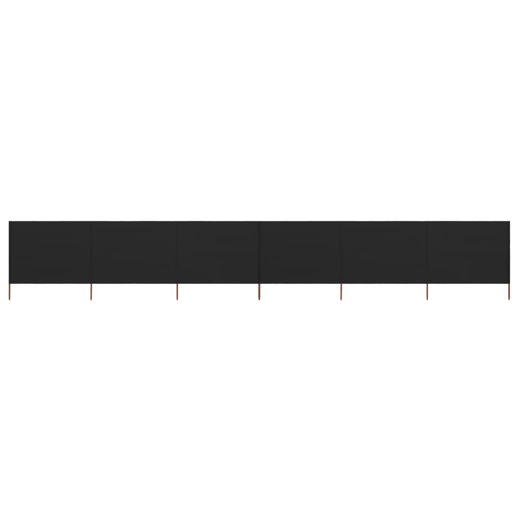 6-teiliges Windschutzgewebe 800 x 160 cm Schwarz