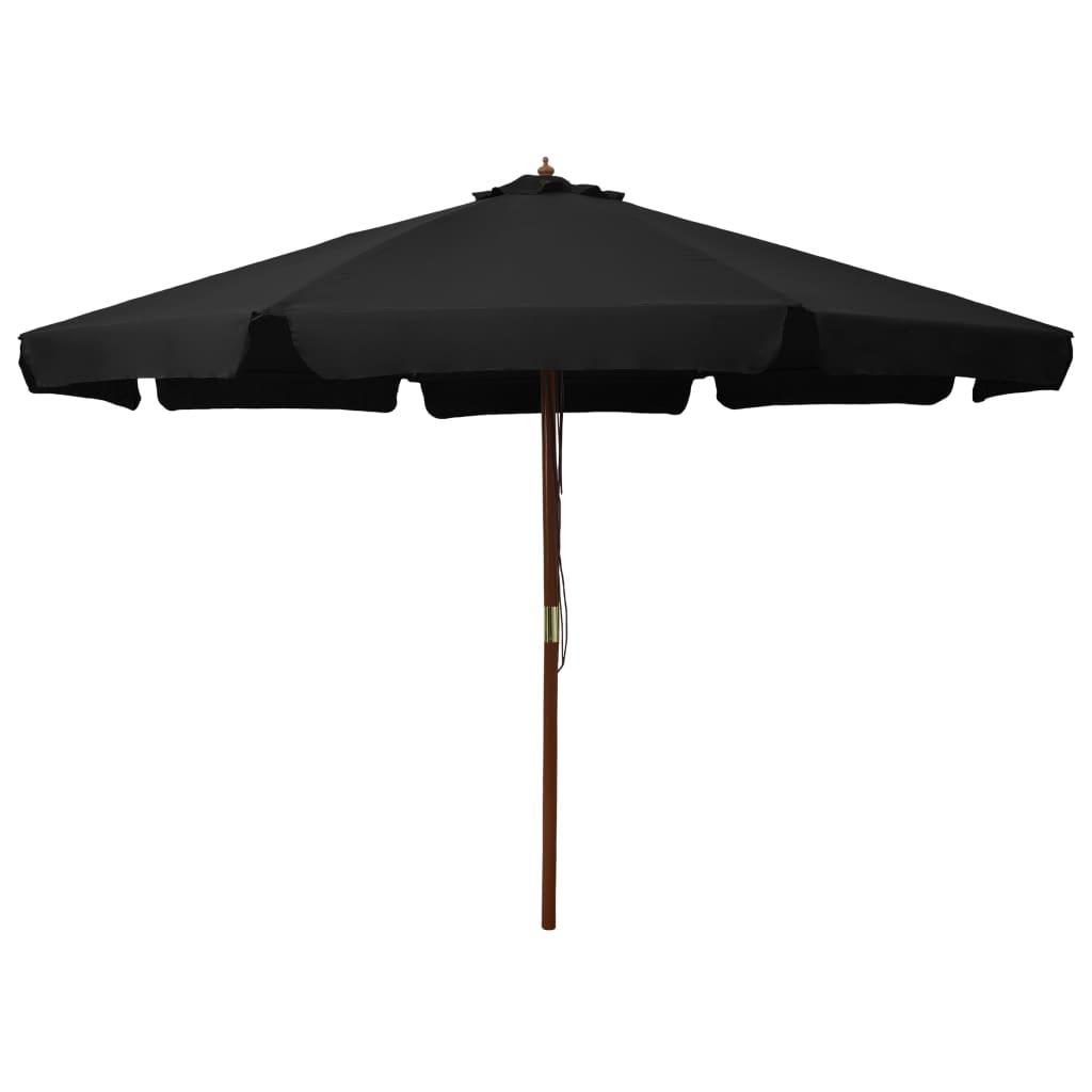 vidaXL Parasol met houten paal 330 cm zwart