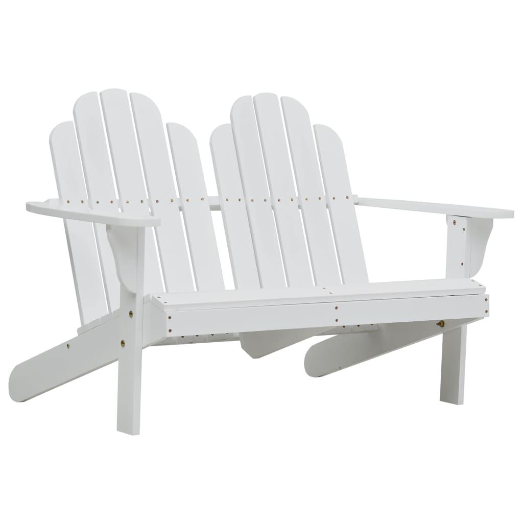 vidaXL Κάθισμα Διπλό Adirondack Λευκό Ξύλινο