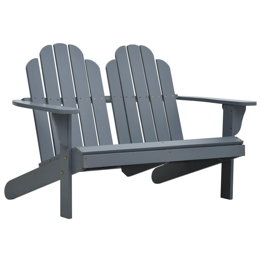 vidaXL Κάθισμα Διπλό Adirondack Γκρι Ξύλινο