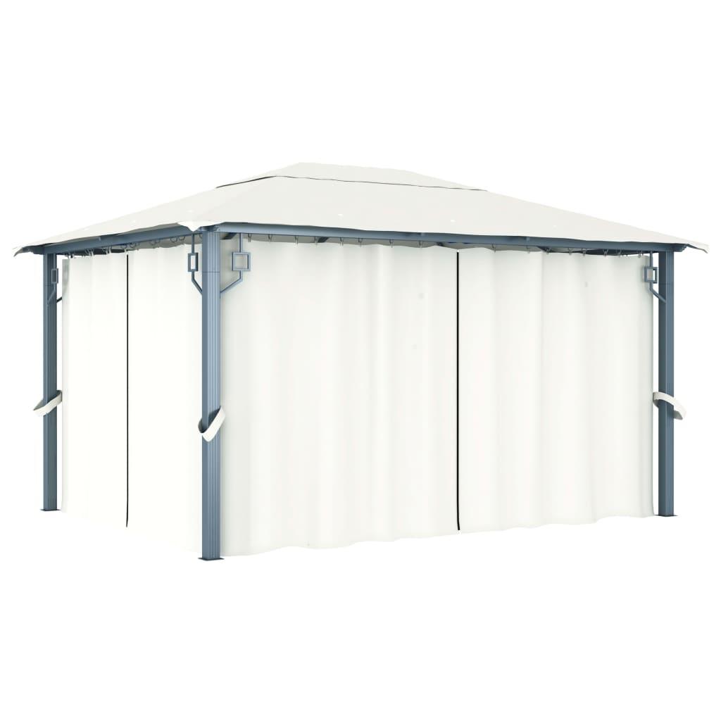 vidaXL Gazebo con Tenda 400 x 300 cm Crema Alluminio
