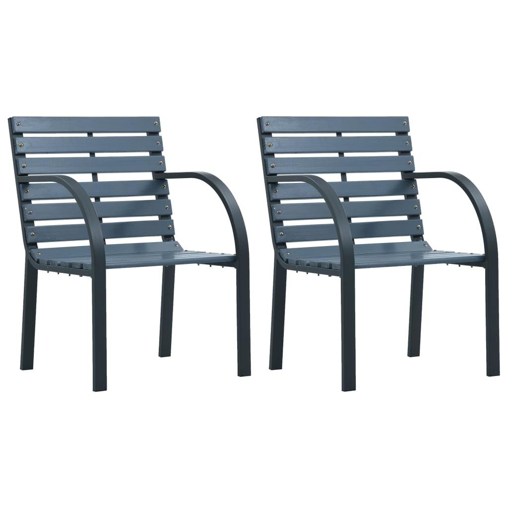 vidaXL Zahradní židle 2 ks šedé dřevo