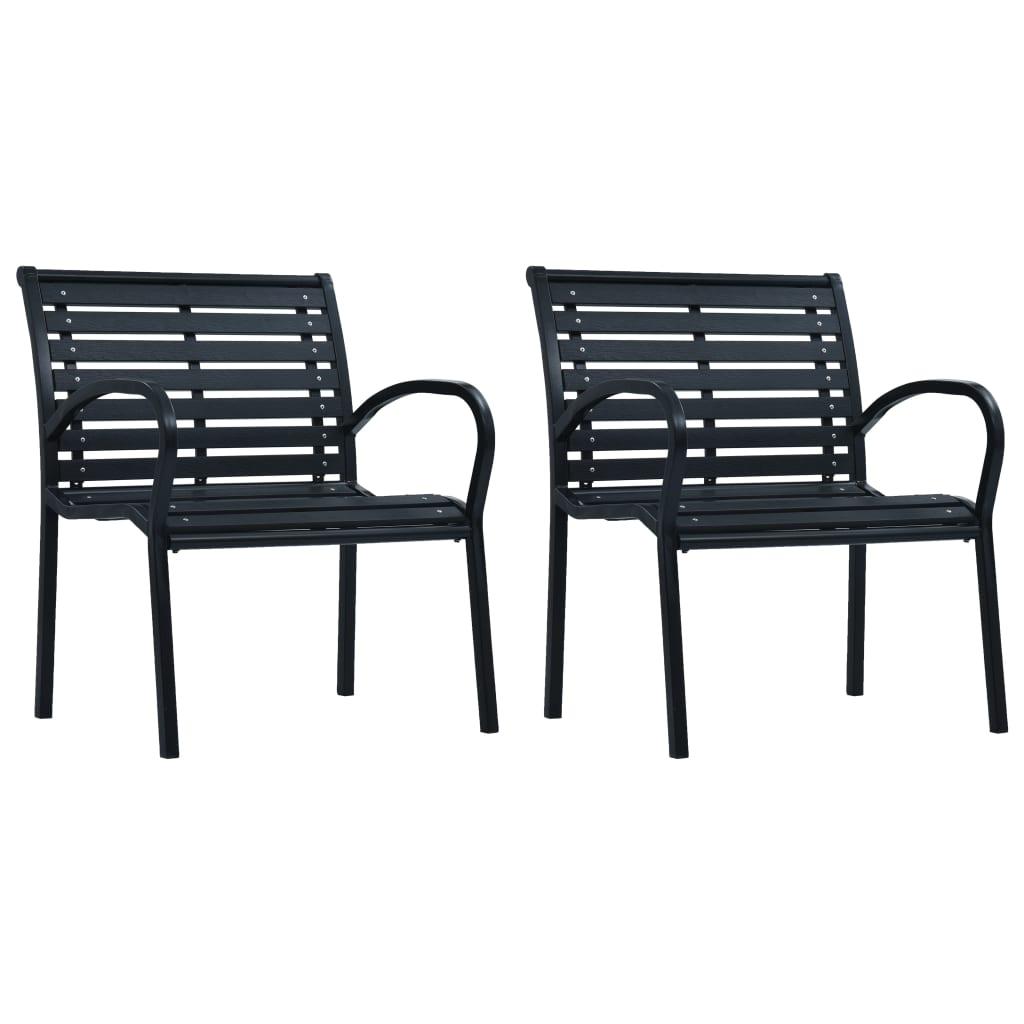 vidaXL Krzesła ogrodowe, 2 szt., czarne, stal i WPC