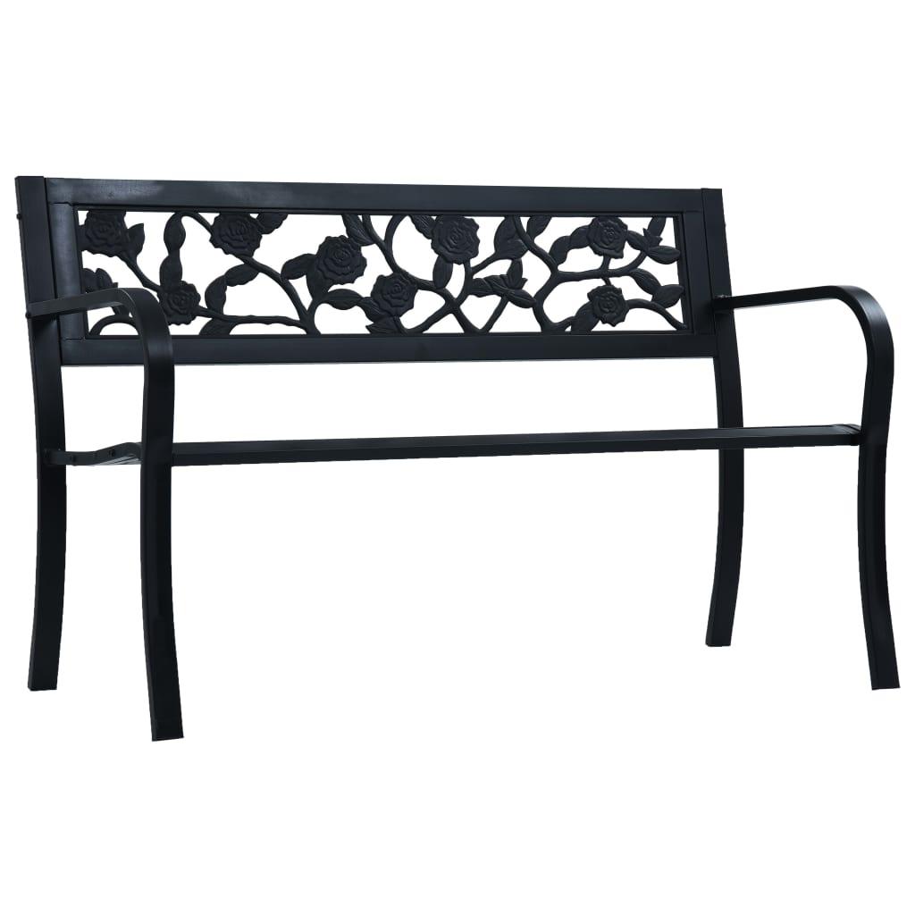 vidaXL Bancă de grădină, negru, 125 cm, oțel vidaxl.ro