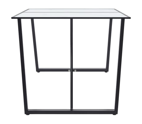 """vidaXL Dining Table White 55.1""""x27.6""""x29.5"""" Tempered Glass[3/6]"""