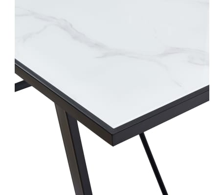 """vidaXL Dining Table White 55.1""""x27.6""""x29.5"""" Tempered Glass[5/6]"""