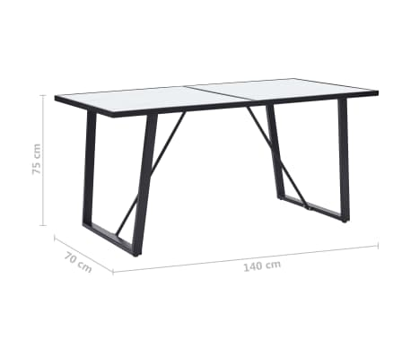 """vidaXL Dining Table White 55.1""""x27.6""""x29.5"""" Tempered Glass[6/6]"""