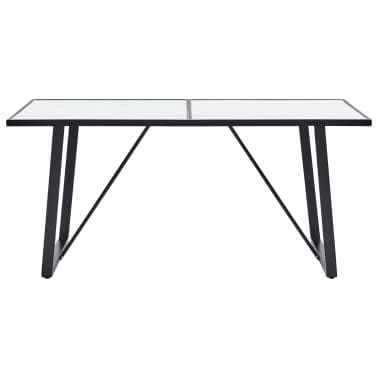 """vidaXL Dining Table White 55.1""""x27.6""""x29.5"""" Tempered Glass[2/6]"""