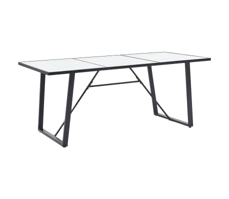 """vidaXL Dining Table White 70.9""""x35.4""""x29.5"""" Tempered Glass[1/5]"""