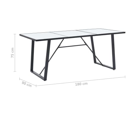 """vidaXL Dining Table White 70.9""""x35.4""""x29.5"""" Tempered Glass[5/5]"""