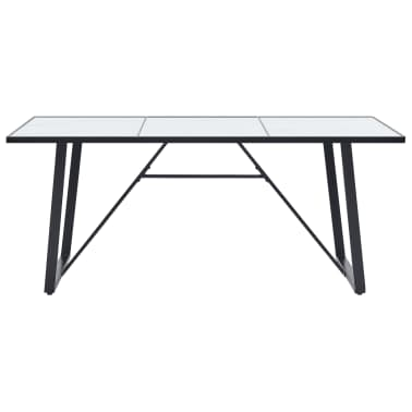 """vidaXL Dining Table White 70.9""""x35.4""""x29.5"""" Tempered Glass[2/5]"""