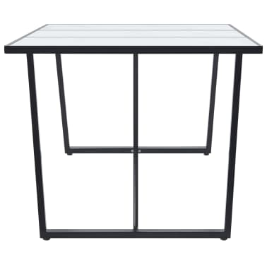 """vidaXL Dining Table White 70.9""""x35.4""""x29.5"""" Tempered Glass[3/5]"""