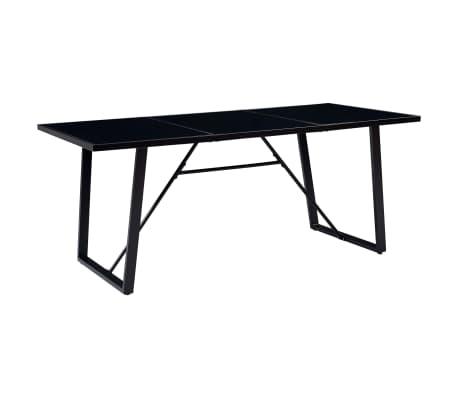 vidaXL fekete edzett üveg étkezőasztal 180 x 90 x 75 cm