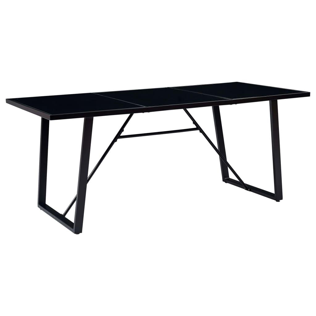 vidaXL Stół jadalniany, czarny, 200 x 100 x 75 cm, hartowane szkło