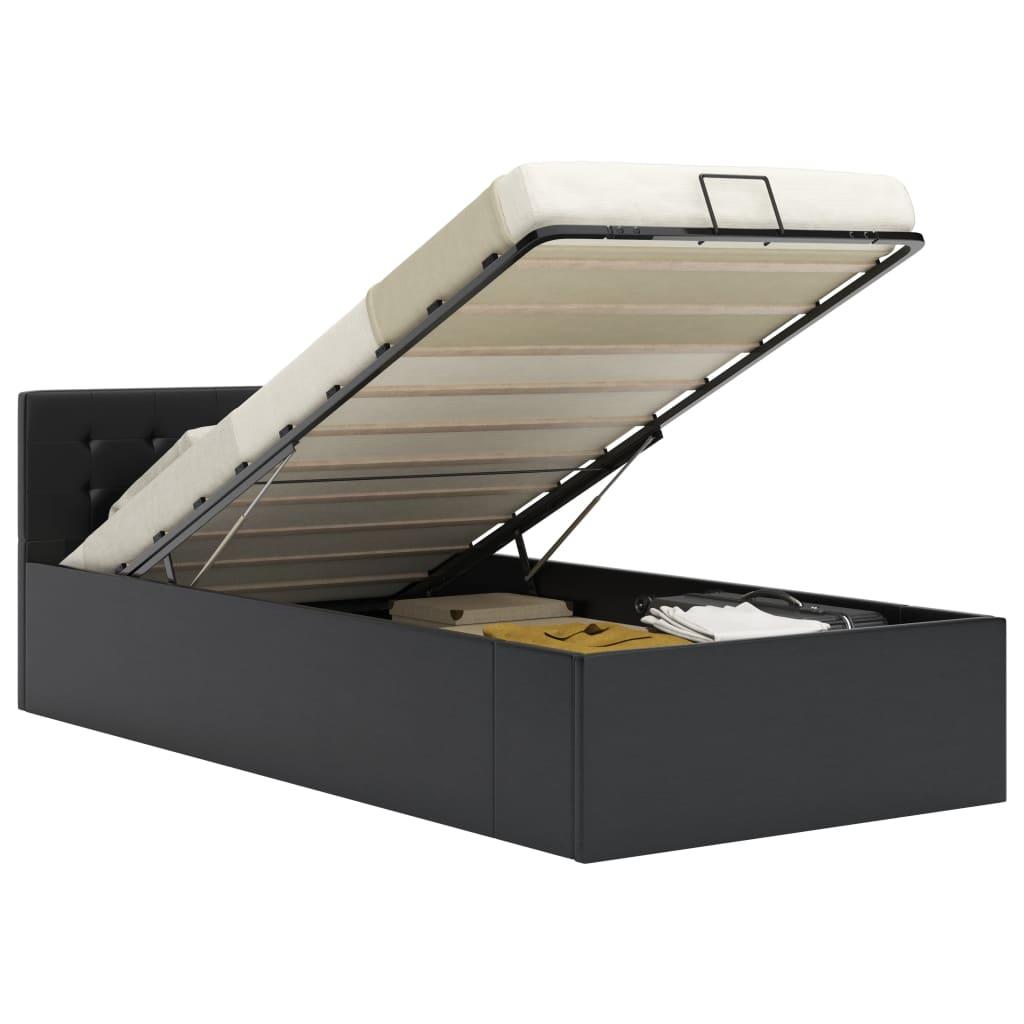 vidaXL Bedframe met opslag hydraulisch kunstleer zwart 100x200 cm