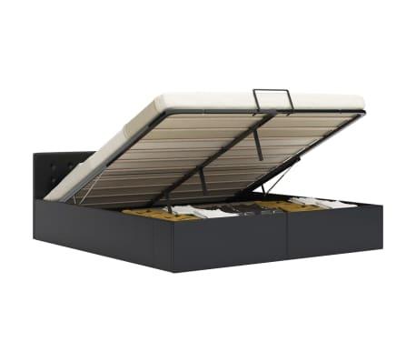 vidaXL Rám postele zvedací úložný prostor černý umělá kůže 160x200 cm