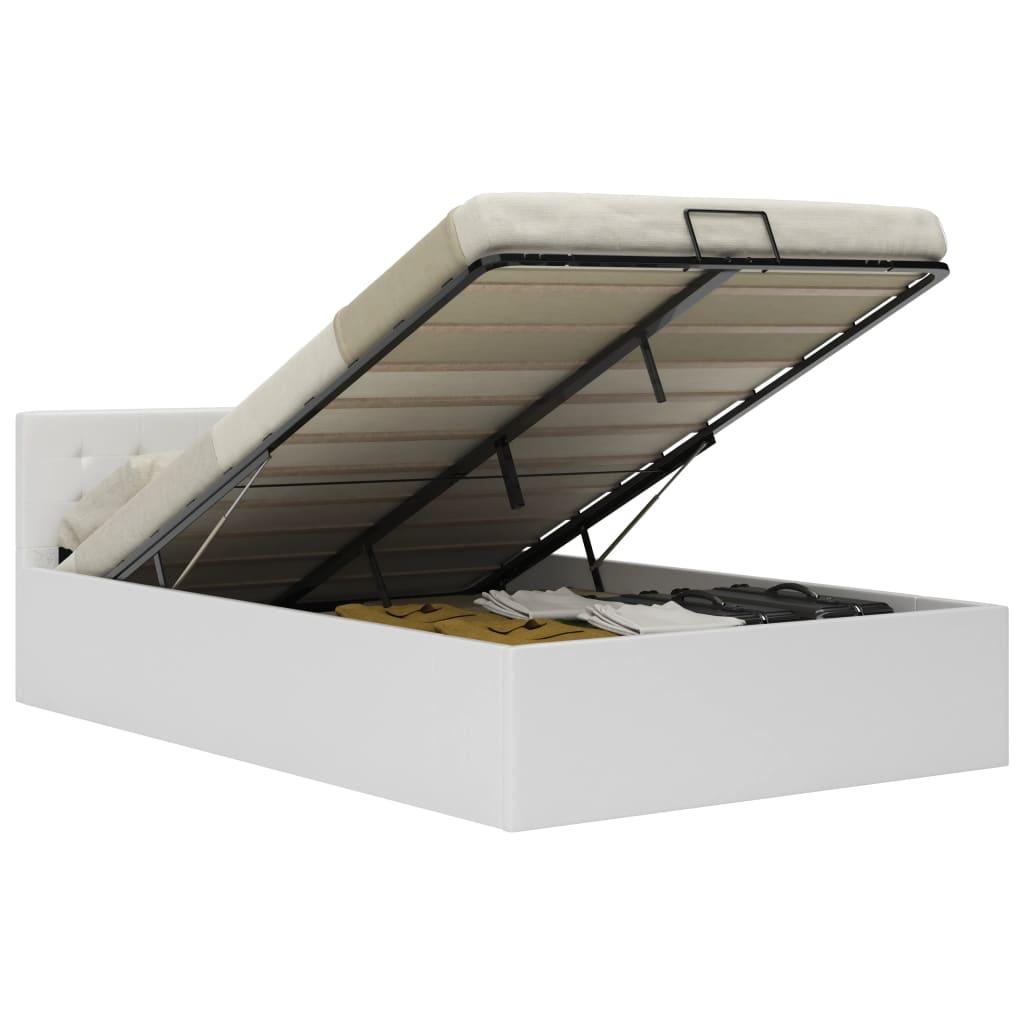 vidaXL Bedframe met opslag hydraulisch kunstleer wit 120x200 cm