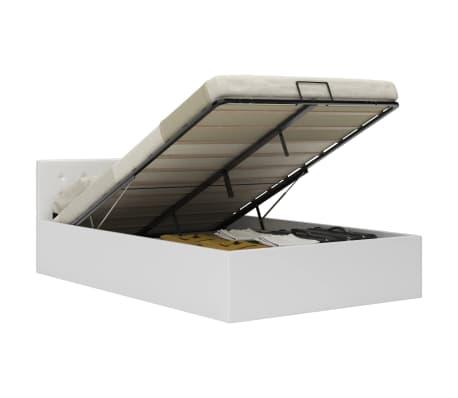 vidaXL Cadre de lit à rangement hydraulique Blanc Similicuir 140x200cm