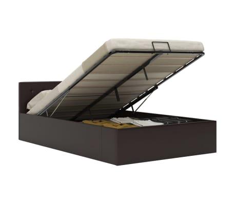 vidaXL Cadre de lit à rangement hydraulique Gris Similicuir 140x200 cm