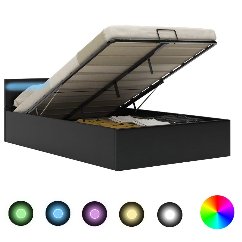 vidaXL Bedframe met opslag hydraulisch LED kunstleer zwart 120x200 cm