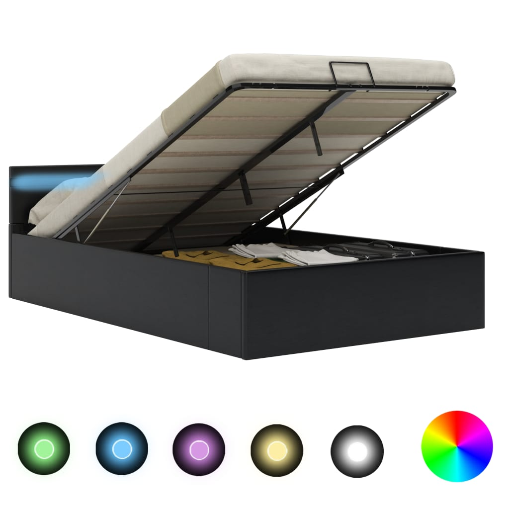 vidaXL Bedframe met opslag hydraulisch LED kunstleer zwart 140x200 cm