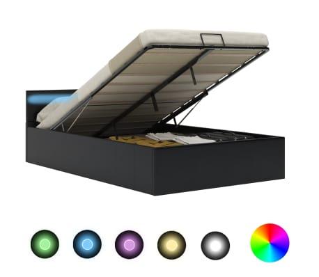 vidaXL Cadre de lit à rangement avec LED Noir Similicuir 140x200 cm