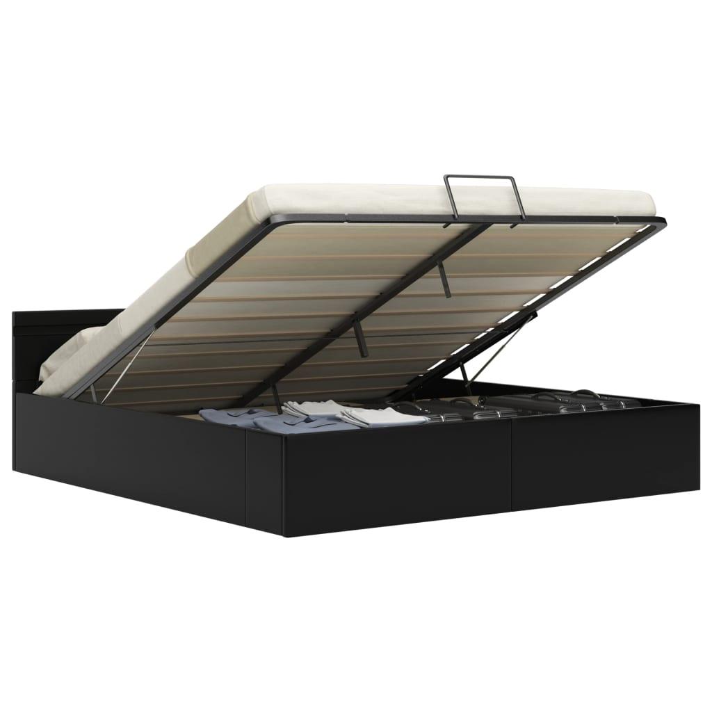 vidaXL Bedframe met opslag hydraulisch LED kunstleer zwart 180x200 cm