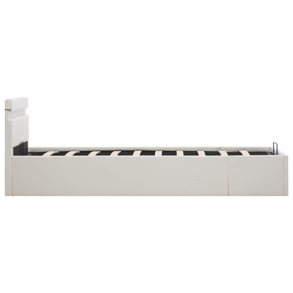 Bedframe met opslag hydraulisch LED kunstleer wit 90x200 cm