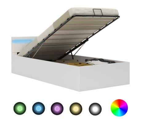 Unfade Memory Cadre de lit avec LED durabilit/é Blanc Similicuir 90 x 200 cm