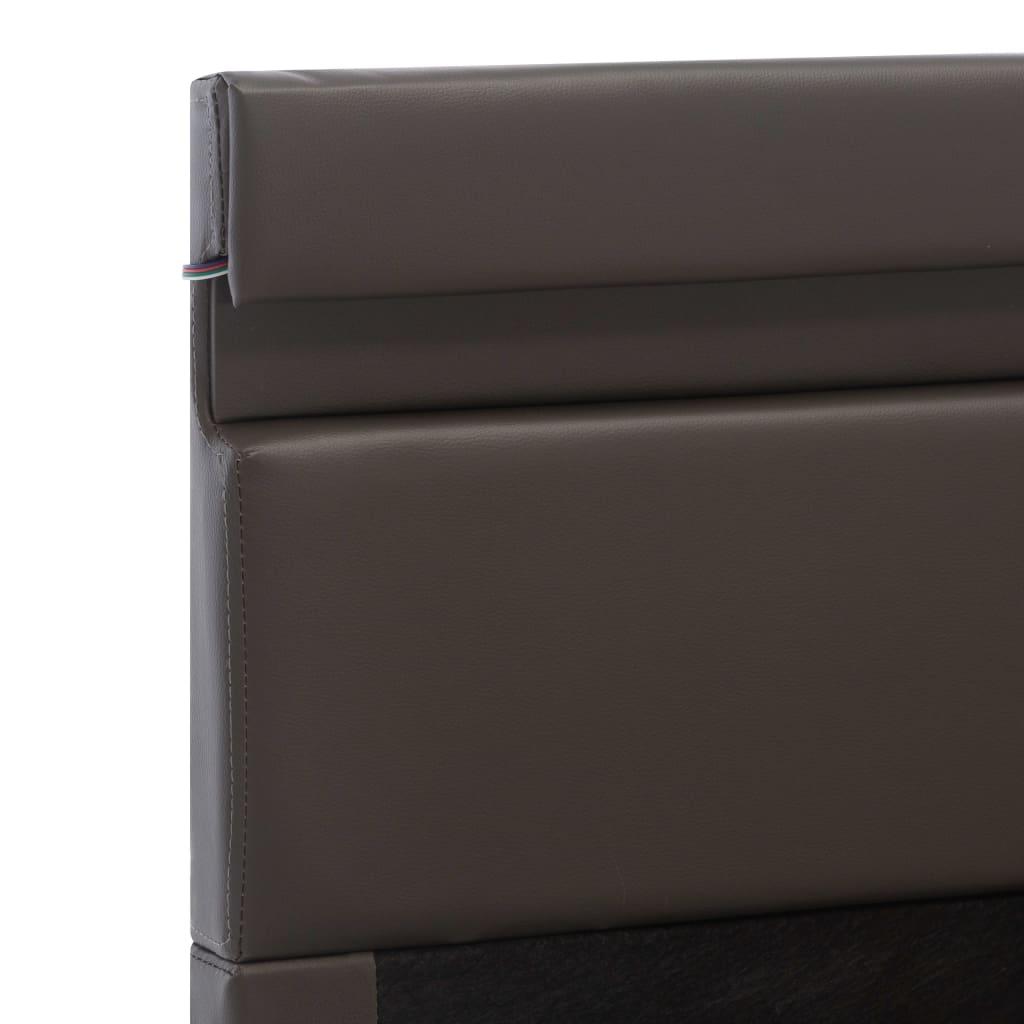 vidaXL Bedframe met opslag hydraulisch LED kunstleer grijs 100x200 cm