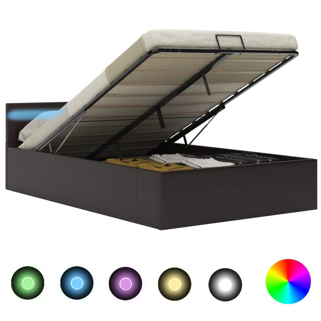 vidaXL Πλαίσιο Κρεβατιού με Αποθ. Χώρο/LED Γκρι 120×200 εκ. Δερματίνη