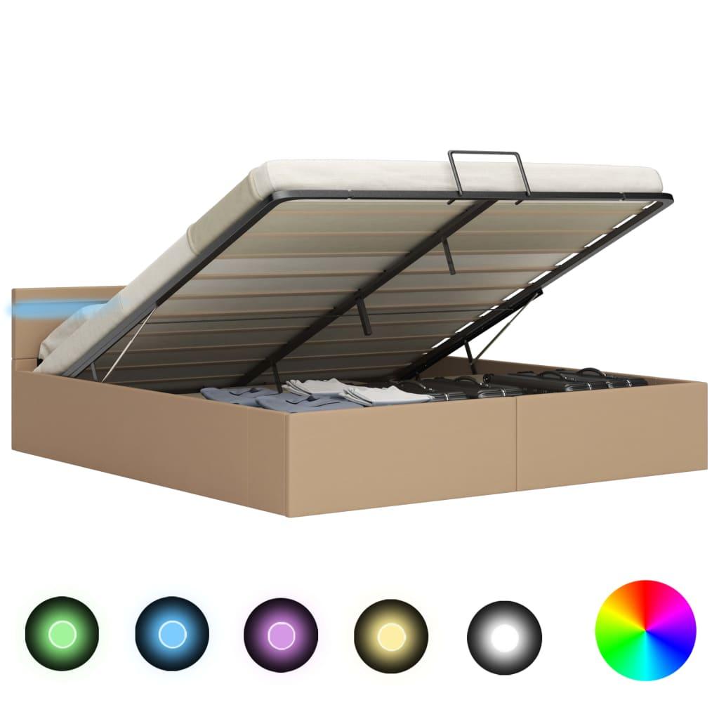 vidaXL Πλαίσιο Κρεβατιού Αποθ. Χώρο/LED Καπουτσίνο 180×200εκ Δερματίνη
