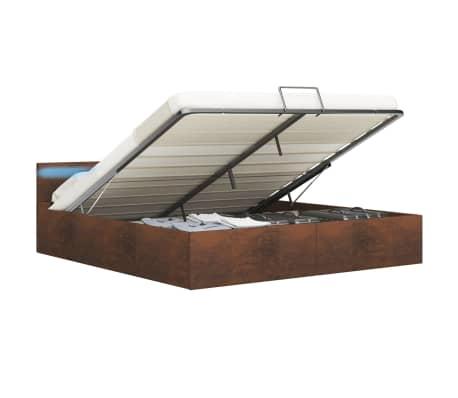 vidaXL Lovos rėmas su LED ir daiktadėže, rudas, 160x200cm, audinys[2/12]