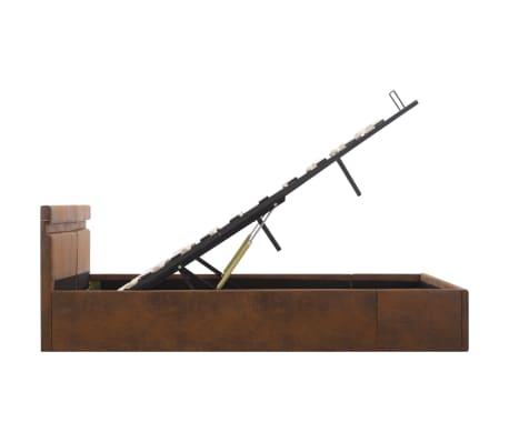 vidaXL Lovos rėmas su LED ir daiktadėže, rudas, 160x200cm, audinys[8/12]