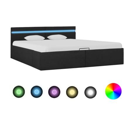 vidaXL Lovos rėmas su LED ir daiktadėže, pilkas, 180x200cm, audinys[1/11]