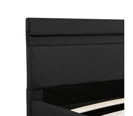 vidaXL Lovos rėmas su LED ir daiktadėže, pilkas, 180x200cm, audinys[9/11]