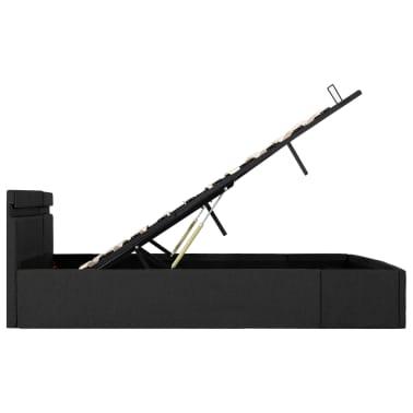 vidaXL Lovos rėmas su LED ir daiktadėže, pilkas, 180x200cm, audinys[7/11]
