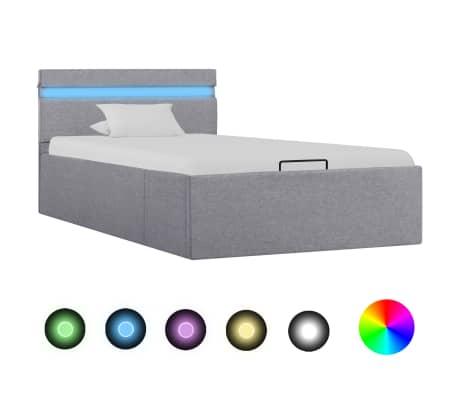 vidaXL Cadre de lit à stockage avec LED Gris clair Tissu 100x200 cm
