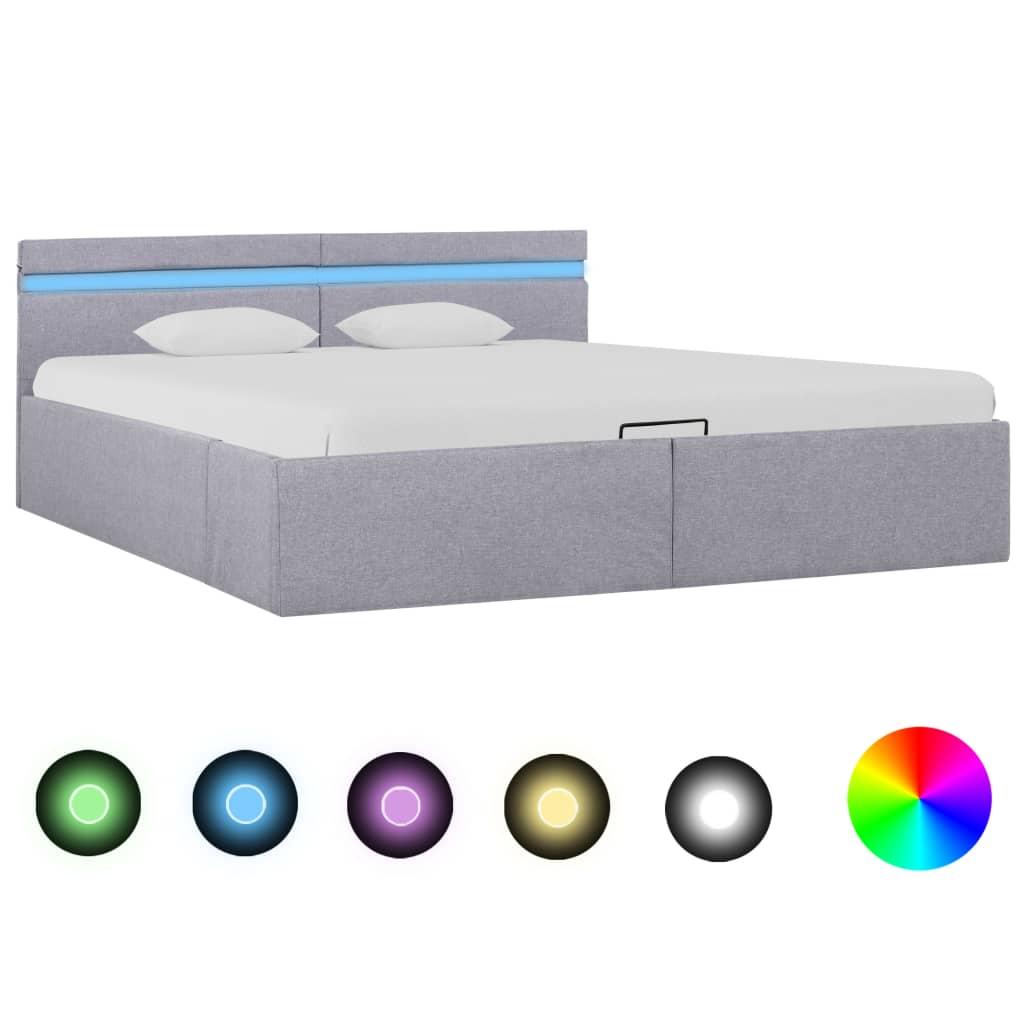 vidaXL Bedframe met opslag en LED stof lichtgrijs 180x200 cm