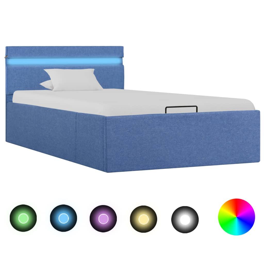 vidaXL Cadru pat hidraulic cu ladă, LED, albastru, 100x200 cm, textil vidaxl.ro