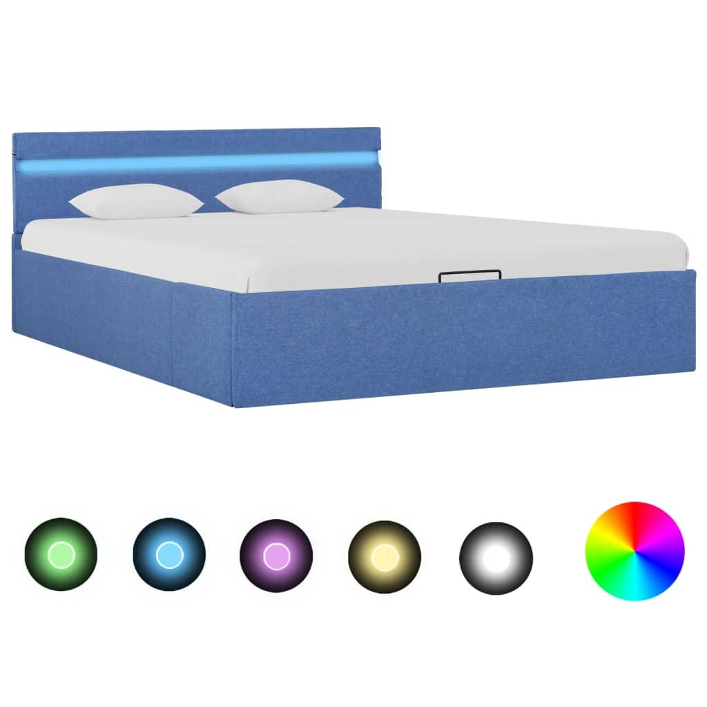 vidaXL Cadru pat hidraulic cu ladă și LED albastru 120x200 cm textil poza vidaxl.ro