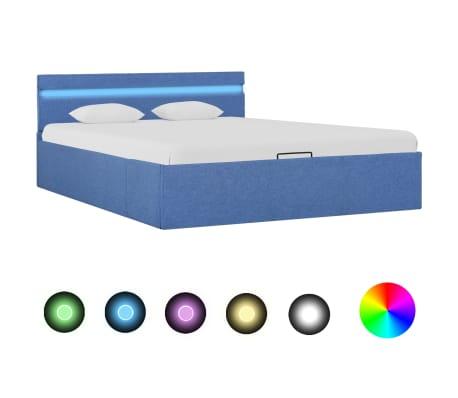 vidaXL Zvedací rám postele s LED světlem modrý textil 140 x 200 cm