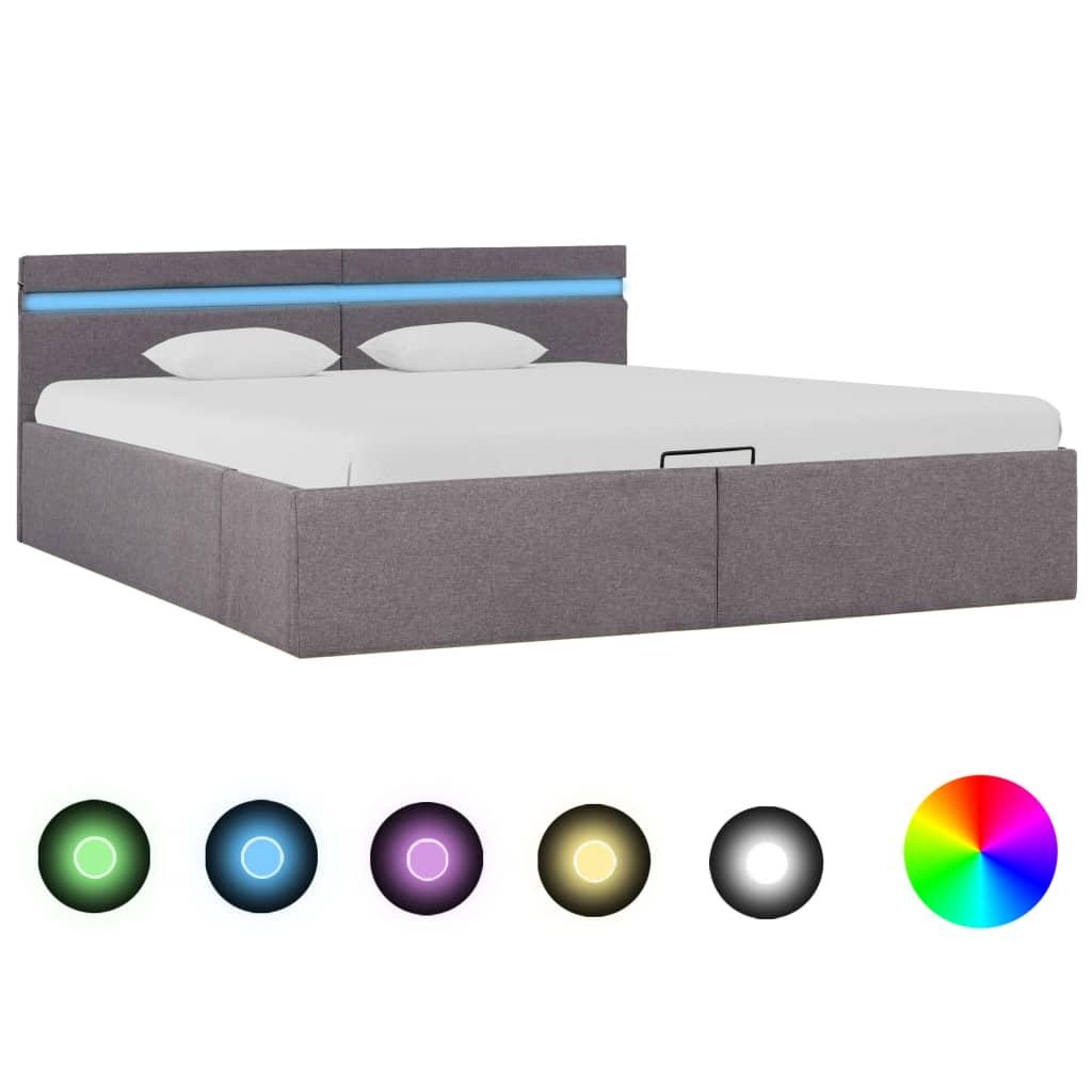 vidaXL Bedframe met hydraulische opslag en LED stof taupe 160x200 cm