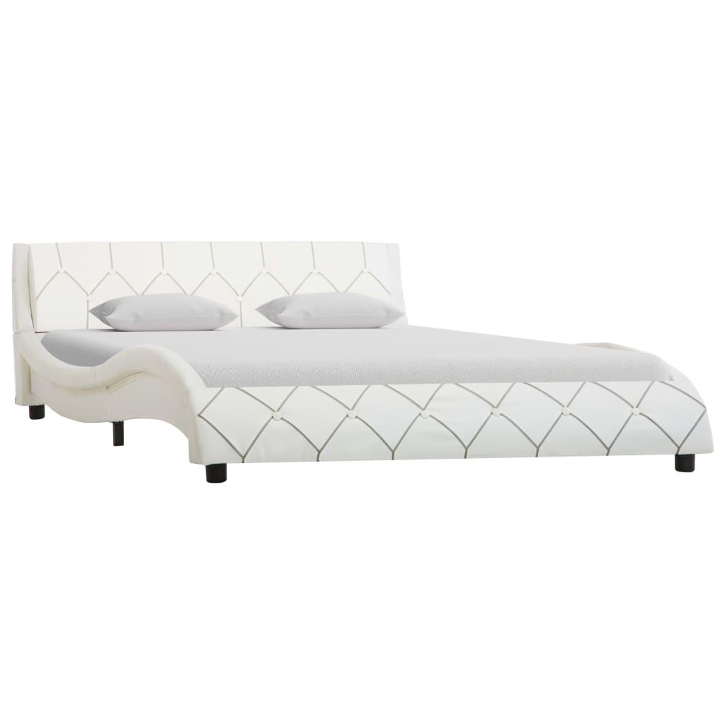 vidaXL Cadru de pat, alb, 140 x 200 cm, piele ecologică imagine vidaxl.ro