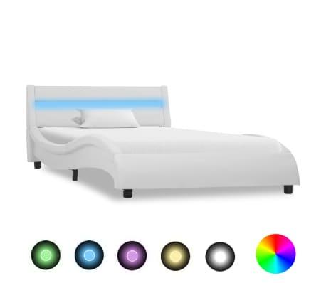 vidaXL Рамка за легло с LED, бяла, изкуствена кожа, 100x200 cм