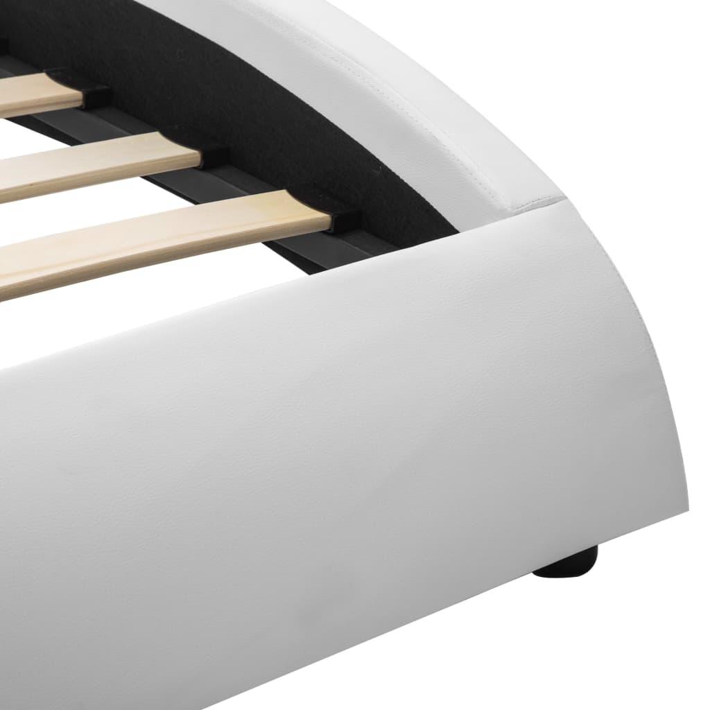 vidaXL Bedframe met LED kunstleer wit 120x200 cm