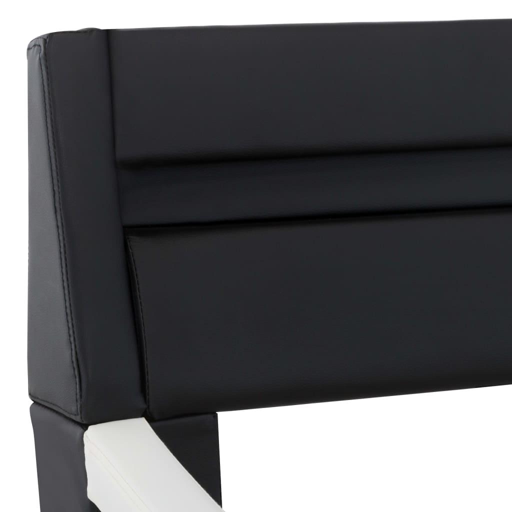 Bedframe met LED kunstleer zwart en wit 160x200 cm