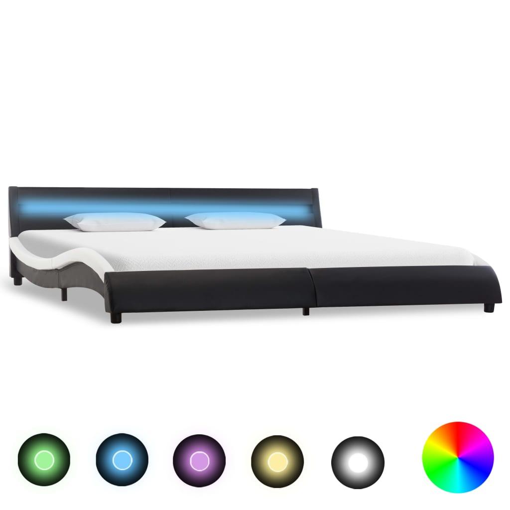 vidaXL Sängram med LED svart konstläder 160x200 cm