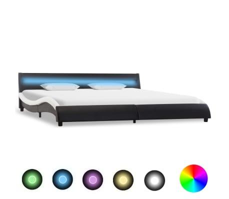vidaXL Cadre de lit avec LED Noir et blanc Similicuir 180 x 200 cm