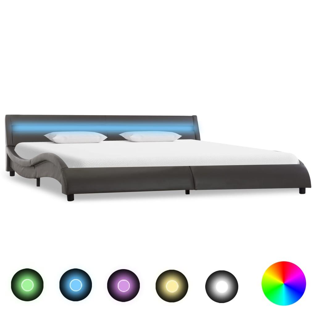 vidaXL Bedframe met LED kunstleer grijs 180x200 cm
